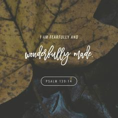 For thou hast possessed my reins: thou hast covered me in my mother's womb.  I will praise thee; for I am fearfully and wonderfully made: marvellous are thy works; and that my soul knoweth right well. Psalms 139:13-14 KJV http://bible.com/1/psa.139.13-14.KJV