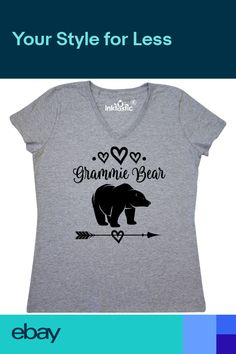 d8fceadd7 Inktastic Grammie Bear Grandma Gift Womens V-Neck T-Shirt Grandmother  Mothers