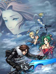 Squall Leonhart, Zidane Tribal, Cloud Strife, and Terra Brandford. Fan art. Final Fantasy Dissidia.