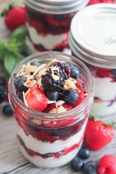 Summer Berry Parfaits with Vanilla Bean Ricotta and Toasted Almonds. An incredibly simple, healthy and delicious treat. (And perfectly portable too!) #SummerSoiree