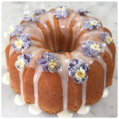 Lemon Drizzle Bundt Cake with Sugared Edible Flowers