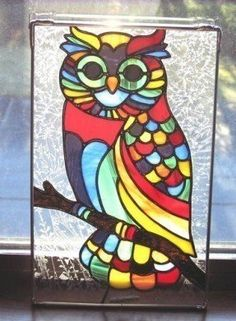 Woodland Owl Handcrafted Stained Glass Panel Rainbow Owl What a hoot! Stained Glass Birds, Faux Stained Glass, Stained Glass Designs, Stained Glass Panels, Stained Glass Projects, Stained Glass Patterns, Owl Mosaic, Mosaic Art, Mosaic Glass