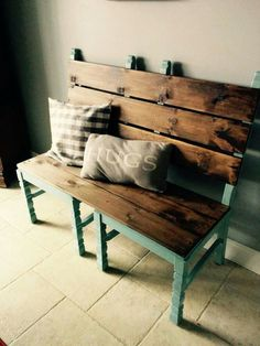 repurposed furniture Two old chairs converted into a bench for extra dining room seating when needed! Refurbished Furniture, Repurposed Furniture, Pallet Furniture, Furniture Projects, Furniture Makeover, Home Projects, Painted Furniture, Repurposed Items, Diy Furniture Repurpose
