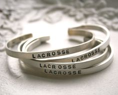for the lacrosse girl, lax sterling bracelet, add your initials or # inside...