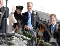 Prince William, his pregnant wife Kate and Prince Harry attended the wedding of Mark Tomlinson and Laura Bechtolsheimer during a break at an upmarket ski resort in Switzerland on 2 Mar 2013