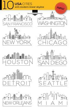 This set contain 10 Famous City Skylines and 3 varitions of each city. Each city has a simple black version design, night background design and sunny background design. Includes eps10 and high resolution jpeg files of San Francisco, New York, Washington DC, Seattle, Chicago, San Diego, New Orleans, Houston, Detroit and Miami.