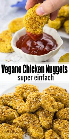 If you're looking for vegan comfort food recipes, these vegan chicken nuggets (a., you're looking for vegan comfort food recipes, these vegan chicken nuggets (aka chickpea nuggets) are perfect for you! They're super easy to make a. Vegan Recipes Easy, Veggie Recipes, Cooking Recipes, Super Food Recipes, Vegan Chicken Recipes, Dinner Recipes, Recipe Chicken, Healthy Chicken, Diabetic Recipes