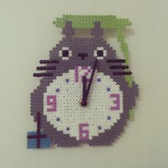 Totoro clock perler beads by fluffrumpa