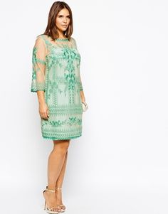 Mint Embroidered Mesh Dress Asos Curve Plus Size