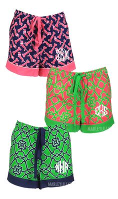 These personalized Lounge shorts are the perfect personalized gift for the girl that has everything! #comfy #dogbones #ML #cute #preppy #Lounge #pink #girly #green #navy