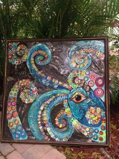 Best 12 Cover using a putty knife with clear caulk and apply flat glass marbles from the dollar store. Display with a solar spotlight behind it- – SkillOfKing. Mosaic Crafts, Mosaic Projects, Art Projects, Mosaic Ideas, Project Ideas, Mosaic Wall Art, Tile Art, Paper Mosaic, Mosaic Artwork