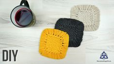 Hey guys in today's macrame video I'll show you how to make Square MACRAME Coaster for your table. This can be a really nice detail for your home/table decor. Table Coasters, Diy Coasters, Magic Knot, Macrame Patterns, Crochet Patterns, Rope Art, Macrame Design, Diy Crafts For Gifts, Macrame Tutorial