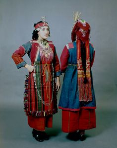 """Front and back Thessaloniki district, Liti and Drymos festive costumes with the characteristic hair ornaments """"bapkes"""" and the head ornament """"sourgoutsa"""", a metal tassel in the form of a pin. Tribal Dress, Ethnic Dress, Wedding Costumes, Dance Costumes, Greek Costumes, Folk Clothing, Strawberry Blonde Hair, Thessaloniki, Folk Costume"""