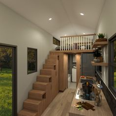 The Adventurer - metre tiny house is designed for those that want a bit more space in their tiny home. With two lofts and a full size U-shaped kitchen the Adventurer is perfect for those who need a bit more room than the typical tiny house. Tiny House Plans, Tiny House On Wheels, Tiny House With Stairs, A Frame Cabin, Tiny House Living, Living Room, Under Stairs, Tiny House Design, Architecture