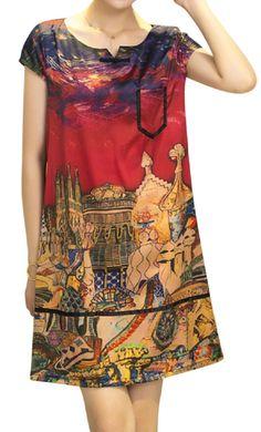 Tribal Style Women Printed V-Neck Short Sleeve Mini Dress