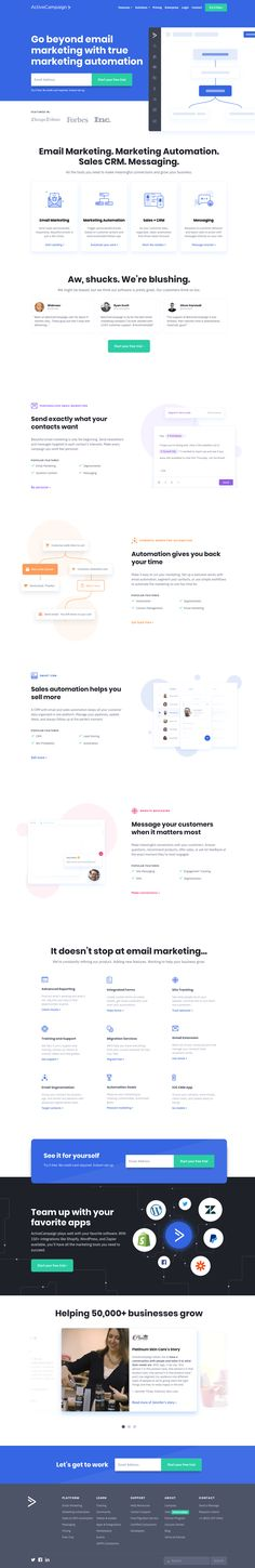 Integrated email marketing, marketing automation, and small business CRM. Save time while growing your business with sales automation. Marketing Automation, Email Marketing, Web Design Inspiration, Design Ideas, Business, Landing, Website, Business Illustration