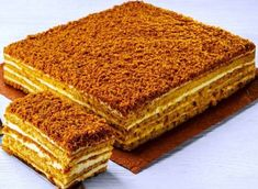 Honey cake in haste, without rolling cakes. Russian Desserts, Russian Recipes, Delicious Cake Recipes, Sweet Recipes, No Bake Desserts, Dessert Recipes, Homemade White Bread, Milk Cake, Honey Cake