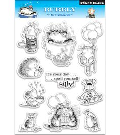 """Penny Black Clear Stamps 5""""X7.5"""" Sheet-BubblyPenny Black Clear Stamps 5""""X7.5"""" Sheet-Bubbly,"""