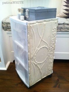 OH MY GOSH!!!  dress up my plastic drawer system with tin ceiling tile!