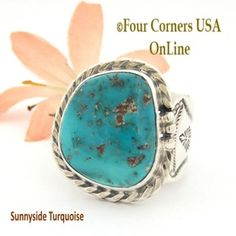 Size 11 3/4 Sunnyside Turquoise Sterling Ring Navajo Artisan Freddy Charley NAR-1636 Four Corners USA OnLine Native American Jewelry