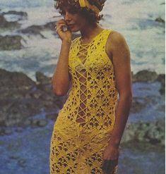 Crochet Pattern Vintage 70s Sexy Crochet Dress Pattern