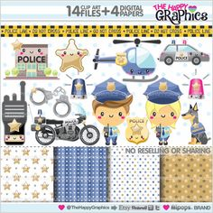 ★New listing! Police graphics for COMMERCIAL USE - Police clipart - Kawaii graphics