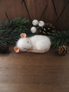 BROOCH sleeping small white mouse needle felting by LiveTales on Etsy https://www.etsy.com/listing/465792831/brooch-sleeping-small-white-mouse-needle