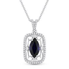 1.92ct Marquise Cut Lab-Created Blue Sapphire & Diamond Antique-Style Pendant in 14k White Gold - AM-DN4810 - AlfredAndVincent.com