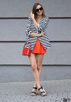 Navy White Striped Long Sleeve Fitted Blazer -SheIn(Sheinside)
