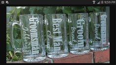 wedding party gifts... etched wine glasses and beer mugs