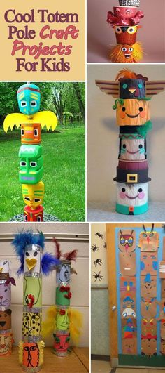 Totem poles are an intricate part of many First Nations peoples. This roundup is full of cool totem pole crafts great for kids! (Cool Crafts For Teachers) Art Totem, Totem Pole Craft, Craft Projects For Kids, Activities For Kids, Art Projects, School Projects, Native American Projects, Native American Art, Native Art