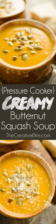 4 Points About Vintage And Standard Elizabethan Cooking Recipes! Pressure Cooker Creamy Butternut Squash Soup Is A Healthy And Hearty Recipe Made In Your Instant Pot For A Quick And Easy 20 Minute Dinner Idea. Best Soup Recipes, Healthy Soup Recipes, Meatless Recipes, Dinner Recipes, Cleanse Recipes, Vegetarian Meals, Fall Recipes, Crockpot Recipes, Dinner Ideas