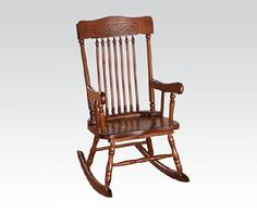 Kloris collection pressed back spindled back tobacco finish wood childrens size rocking chair *** See this great product. (Amazon affiliate link)