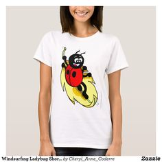 Windsurfing Ladybug Short-Sleeve T-Shirt Women T-Shirt - Fashionable Women's Shirts By Creative Talented Graphic Designers - #shirts #tshirts #fashion #apparel #clothes #clothing #design #designer #fashiondesigner #style #trends #bargain #sale #shopping - Comfy casual and loose fitting long-sleeve heavyweight shirt is stylish and warm addition to anyone's wardrobe - This design is made from 6.0 oz pre-shrunk 100% cotton it wears well on anyone - The garment is double-needle stitched at the…