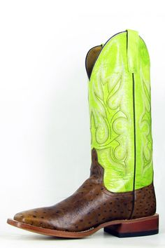 Men's Cowboy Boots Green Oiled Brn Vamp W/ Electric Lime Shaft ...