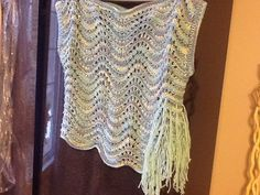 Hand knit Sea breeze top tunic sweater with fringe by Artsyrows