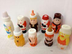 Vintage Evenflo Baby Bottles 1976-1984 Santa bottle, Fred Flintstone Pebbles #EvenfloGerber