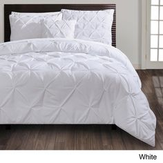 Carmen 4-piece Comforter Set | Overstock.com- white with coral and blue accents in the room, sheets, pillows, etc
