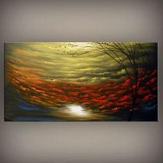 ORIGINAL large abstract painting tree landscape bird by mattsart