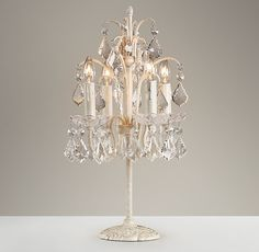 French Table Lamp 4 Light Crystal Chandelier Table Lamp Girls Bedroom Lamp in Antique White/Champagne Silver, Fashion Style Kid's Lighting Chandelier Table Lamp, Candelabra, Lamp Table, Restoration Hardware Baby, French Table, Bedroom Lamps, Bedroom Decor, Bedroom Ideas, Elegant Homes