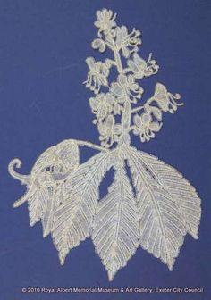 Honiton (East Devon) lace sprig - This horse chestnut leaf and flower are made from East Devon bobbin lace. The leaves have raised veins and are worked in both whole and half stitch. One small section has raised leadworks. The spray of flowers is made with ribbed and rolled petals, a technique which enhances the three dimensional effect. The stamens are also worked with a rib. This is one of a series of naturalistic sprigs (lace motifs) said to have been designed and made by Louisa Tucker John Tucker, Horse Chestnut, Hm The Queen, The Royal Collection, Lace Embroidery, Bobbin Lace, Lace Weddings, Royal Albert, Cotton Thread