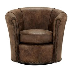 Benedict Leather Swivel Chair In Bronco Whiskey   Arhaus