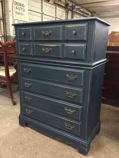 Chest of drawers lightly distressed in American Paint Company Born on the 4th of July.