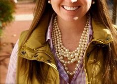 pearls *check  gingham shirt *check  vest *YES PLEASE