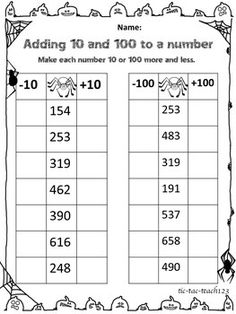 Use this worksheet to assess student understanding of adding and subtracting the numbers and Math Practice Worksheets, 2nd Grade Worksheets, Kindergarten Math, Teaching Math, Second Grade Math, 2nd Grade Math Games, Math Charts, Math Enrichment, Math Groups