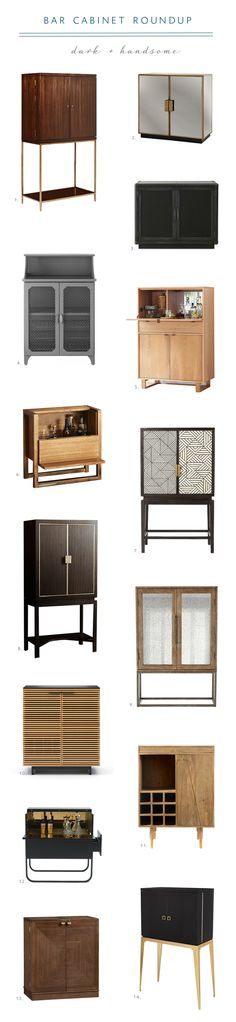 stylish bar cabinet roundup from coco kelley - dark and handsome