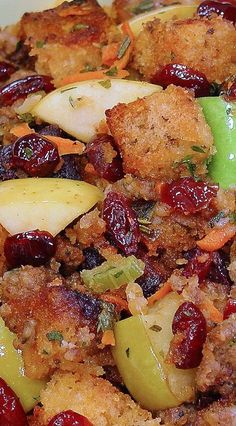 Five-Star Apple Sausage and Cranberry Stuffing ~ Fresh, savory, tart, sweet and festive, the perfect stuffing for #Thanksgiving or #Christmas #Holidays! Featured at the Allrecipes.com site with a 5-star rating and over 2,000 reviews. It will rock your ever-loving turkey stuffing world! | diy gluten free option recipe