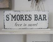 SMORES BAR love is sweet Self Standing Sign / Shabby Vintage Wedding Signs / ORIGINAL Design by The Back Porch Shoppe 4 3/4 x 12