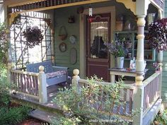 "Small Charmer of a Porch! I love everything about it ~ cozy and inviting ~ a ""y'all kick your shoes off"" kind of porch ~ ♥ :)"