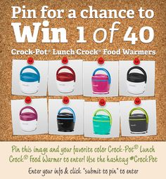 Pin to win 1 of 40 Crock-Pot® Lunch Crock® Food Warmers! Visit our Facebook page to enter now! Contest ends 9/30/13.           http://on.fb.me/19gqXkm          #CrockPot #SlowCookers #contest #pintowin